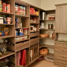 pantry slats for bags etc....Love that is actual cabinets......hmmm so many ideas