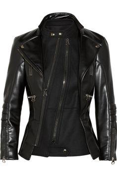 Altuzarra|Felt-paneled faux leather biker jacket|NET-A-PORTER.COM