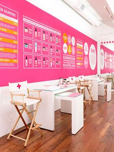 SUPER (cosmetics) does an amazing job of making you think twice about where you are... are you in a store, lab, museum experience? This totally unique cache is part of their branding at every touch-point. #Branding #Super