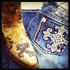 Cowboy Boots and Jeans. Corral and Miss Me at RiverTrail in North Carolina.
