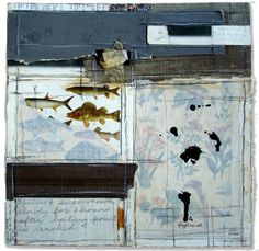 Crystal Neubauer Collage Forget Me Not Mixed Media Abstract Art Salvaged Altered