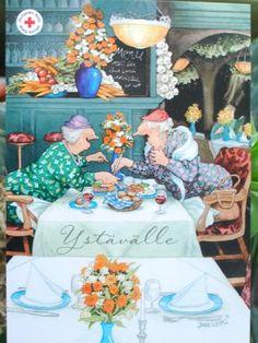 postcards, tea time, teas, ing löök, artist