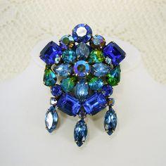 KRAMER Rhinestone Brooch Large Blue Green Aurora Borealis Vintage Costume Jewelry.
