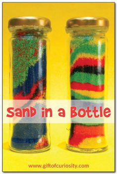 Sand in a bottle craft - a great craft for parties, learning about the ocean, or studying pirates! #artforkids || Gift of Curiosity
