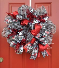 ALABAMA Roll Tide Deco Mesh Wreath, houndstooth, crimson, black, white, plaid $40