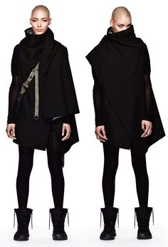 BEINGHUNTED. ACRONYM FW-1112 jacket, future fashion, black outfits, style, ninja, cloak, dark fashion, fashion women, coat