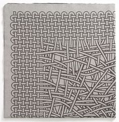 A zentangle drawing that looks like weaving on a small loom pattern, textiles, string theori, string theory, meta textil