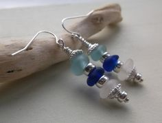 Blue Aqua & White Sea Glass Sterling Silver by SeahamWaves on Etsy, £17.00
