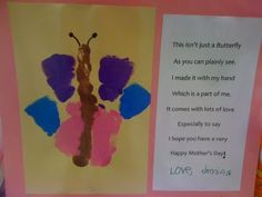 Mother's Day handprint butterfly with poem