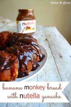 Banana Monkey Bread with Nutella Ganache | www.wineandglue.com