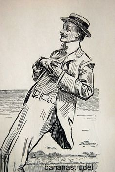 1905 Antique Charles Dana Gibson Print. The Winsome Threesome and the Handsome. $16.00, via Etsy.