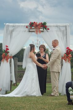 Red Gerbera daisies, barn wedding, wedding arbor, birchwood arbor, rustic wedding, vin