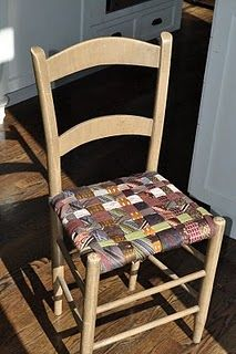 Chair seat made of up-cycled neckties...Pretty easy to weave when you think about it. Tack to the underside of the chair and you're done.