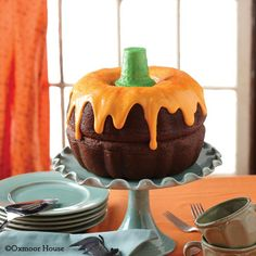 Gooseberry Patch Recipes: Boo-tiful Pumpkin Cake from a Ghastly Good Halloween Cookbook. bundt cakes, orang, pumpkin cakes, fall cakes, pumpkins, pumpkin spice, bunt cakes, halloween cakes, ice cream cones