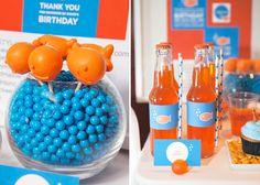 Adorable goldfish party. Really cute and simple signage.