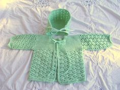 """GREEN SWEATER SET - Hand Crocheted """"Pistachio"""" Sweater and Bonnet 12 Months. $40.00, via Etsy."""
