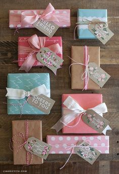 spring gift, gift wrapping, gift tags, wrapped gifts, vintage roses