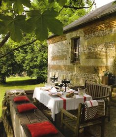 table settings, al fresco dining, rustic homes, patio, backyard, outdoor spaces, porch, garden, outdoor eating