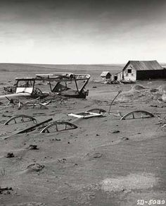 :::::::: VIntage Photograph :::::::: Farm buried in dust during the Dust Bowl Years.
