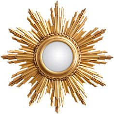 1950s French Convex Sunburst Mirror | 1st Dibs