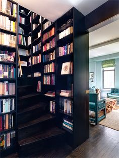 Bookshelves as stairs