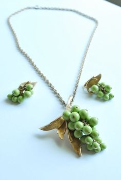 1970's Judy Lee Necklace Earring Set, Cluster Grapes Green & Gold