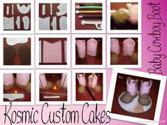 Fondant Baby Cowboy Boots Tutorial - by KosmicCustomCakes