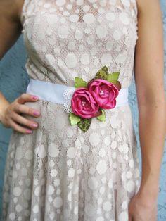 Pink Flower Sash Belt. Dress Sash Belt. Flower Ribbon Sash. Bridesmaid Accessory. Wedding Accessory.