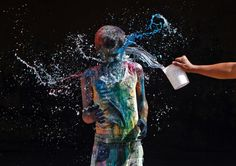 A Riot of Color: A boy smeared with colored powder is doused with water during Holi celebrations in the southern Indian city of Chennai. Holi, also known as the Festival of Colors, marks the beginning of spring and is celebrated across India.