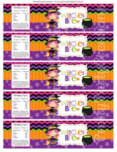 LITTLE WITCH water labels  YOU Print by PrettyPartyCreations