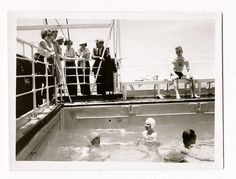 vintage cruise ship at the pool