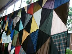 upcycled curtain … from abandoned umbrellas.