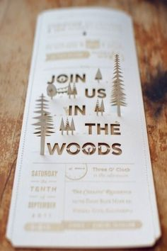 Rustic wedding invitation.