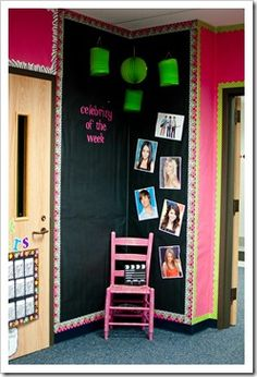 I always thought of bulletin boards as you know bulletin board sized not floor to ceiling. I love this new idea!