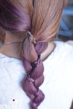 Hair Romance - three strand braid with a mini braid in purple hair
