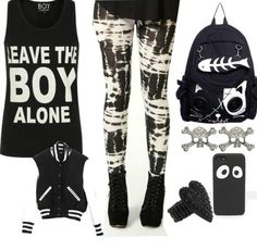 Awesome punk rock outfit black and white leggings , leave the boy alone top, varsity baseball jacket,  cool back pack
