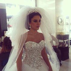 Big bling wedding dress Wedding Dressses, Ball Gowns, Dreams, Veils, Elegant Dresses, Brides Makeup, Mermaid Dresses, Bling Wedding, The Dresses