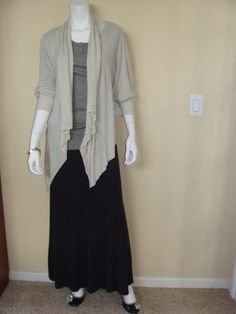 CAbi Spring '12 Ribbed Henley, Moondust Sweater and Nail Head Belt with our vintage Thermal Maxi.