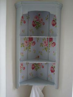 Vintage Corner Shelf Display Unit - Cath Kidston Wallpaper & Laura Ashley interior design, bag display, paint project, cath kidston, craft room, corner shelves