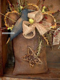 Vintage Burlap Sacks | Prim Vintage Burlap Bag~sunflower~crow~star Primitives photo