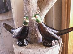 Vintage AVON pr of Pheasants decanters