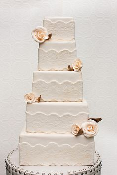 fondant, square, cake, rose, modern, lace, rustic, multi-tier, flowers, cake stand
