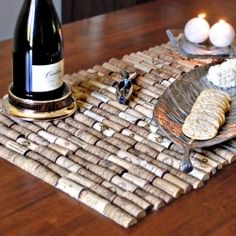 Save your corks and make a rustic wine cork table runner