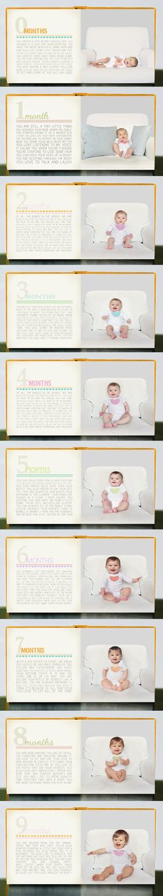 Month-by-month baby photo book.