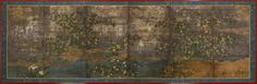 A six-fold paper screen painted in ink and colour on a silver ground with yamabuki (kerria) and kakitsubata (iris) in a rocky river landscape. Unknown (18th/19th century Edo period)