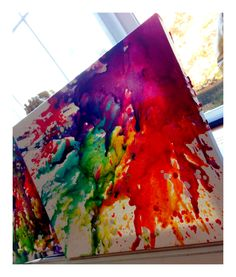 DIY crayon canvas art