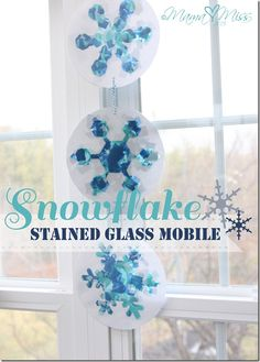 #Christmas craft with kids - Snowflake Stained Glass Mobile