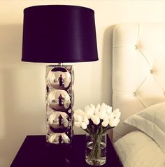 interior, white flowers, idea, bedroom decor, bedroom lamps, night lights, black white, white bedrooms, white bedding