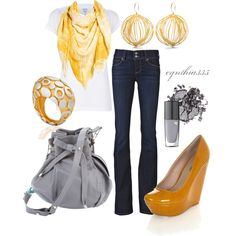 Yellow and Gray, created by cynthia335 on Polyvore
