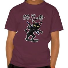 Ninja Cat Kids' T-Shirts by BATKEI